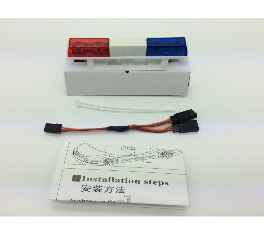 RC Police Light Bar Rotating Flashing LED (red and blue) Type 2